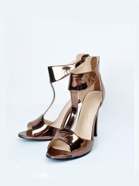 Brown Stiletto Heel Summer Casual Sandals