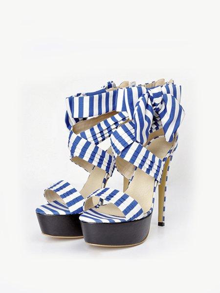 Blue Summer Stiletto Heel Sandals