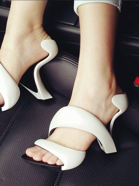 White Stiletto Heel Blending Summer Heels
