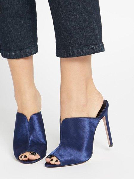 Dark Blue Stiletto Heel Satin Outdoor Summer Heels