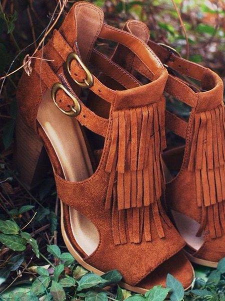 Brown Stiletto Heel Suede Summer Hollow-out Sandals