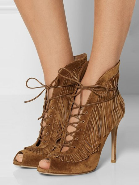 Brown Summer Hollow-out Stiletto Heel Sandals