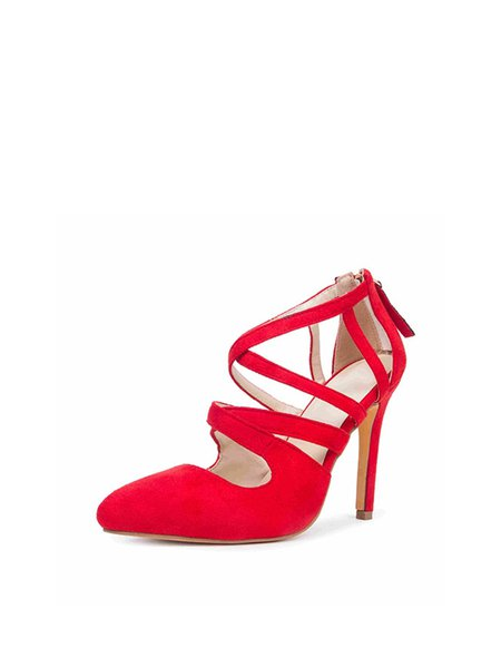 Red Hollow-out Suede Summer Sandals