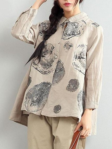 Printed Casual Long Sleeve Linen Shirt Collar Linen Top