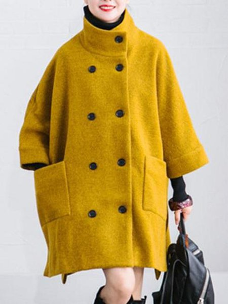 Yellow Solid Casual Turtle Neck Polyester Linen Outerwear