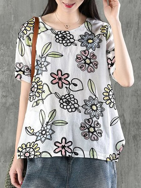 Casual Printed Crew Neck Short Sleeve Floral Shift Linen Top