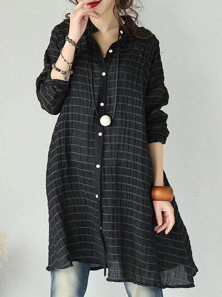 High Low Casual Cotton Stand Collar Long Sleeve Linen Top