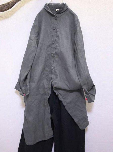 Gray Casual Stand Collar Shift Linen Dress