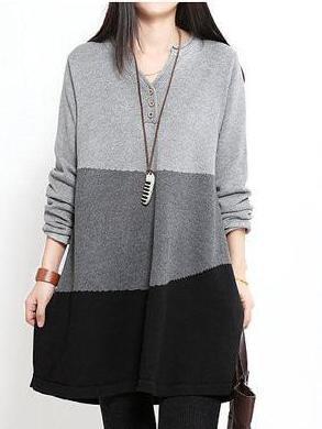 Gray Casual Buttoned Linen Knitwear