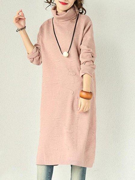 Pink Long Sleeve Jacquard H-line Linen Dress