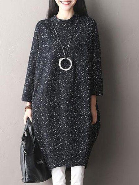 Long Sleeve Printed Cotton Casual Cocoon Linen Dress