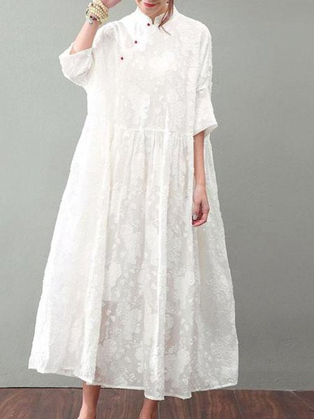 Plus Size White Long Sleeve Stand Collar Swing Guipure Lace Dress