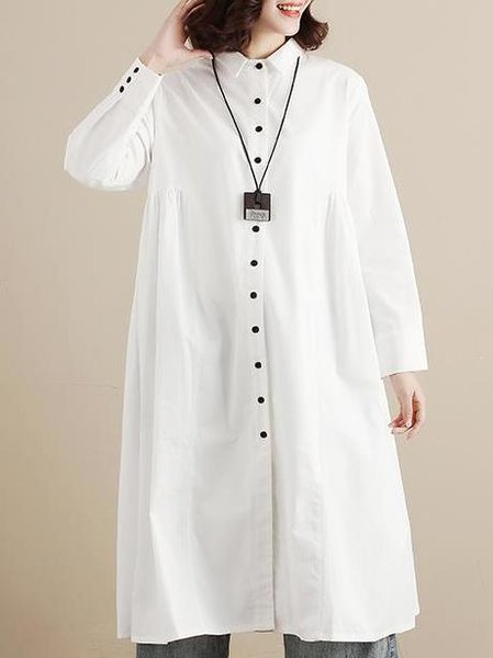 White Printed Cotton Casual Shirt Collar Linen Dress
