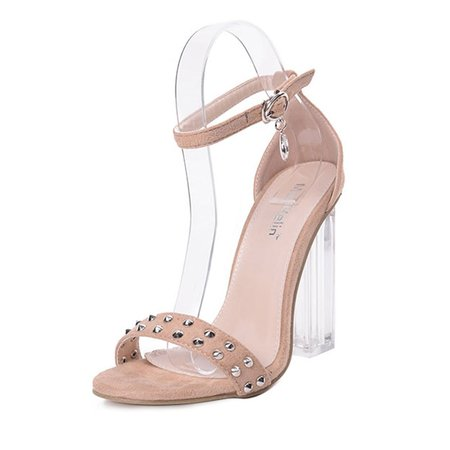 Suede Summer Chunky Heel Buckle Sandals
