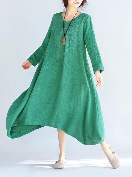 Green Casual Crinkled Linen Linen Dress