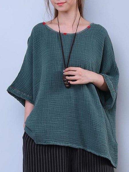 Crew Neck Casual Crinkled 3/4 Sleeve Linen Top