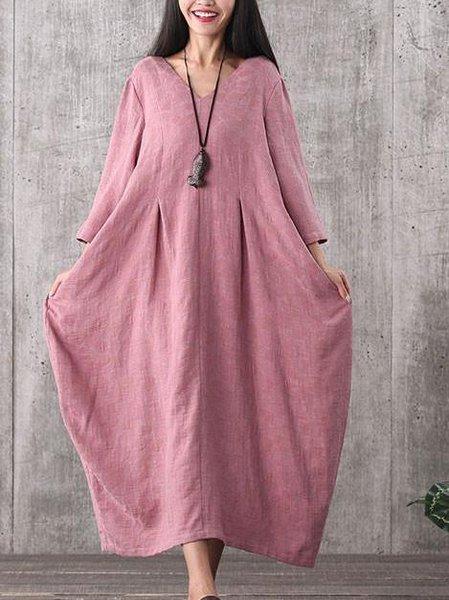 Long Sleeve Casual V Neck Linen Dress