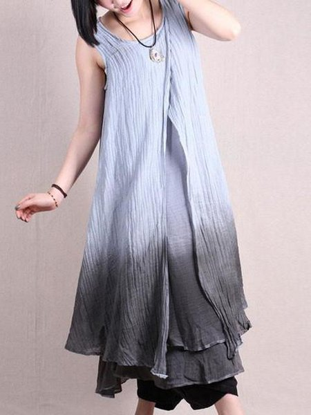 Gray Tiered Asymmetrical Sleeveless Linen Dress