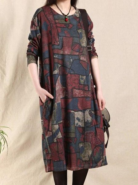 Casual Abstract Long Sleeve Printed Linen Dress