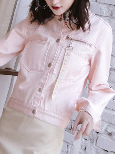 Pink H-line Casual Cotton Cropped Jacket