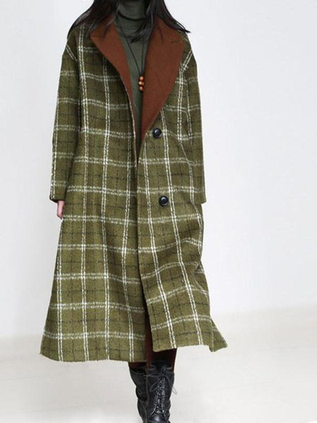 Olive Green Checkered/Plaid Long Sleeve Linen Outerwear