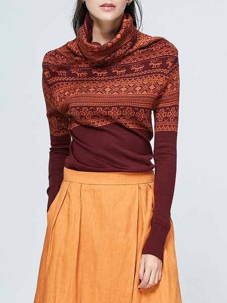 Burgundy Long Sleeve Printed Long Sleeved Top