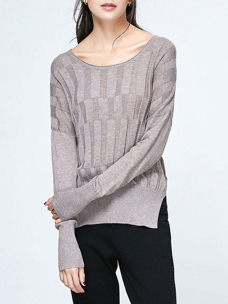 Gray Knitted Slit Crew Neck Casual Plain Tunic