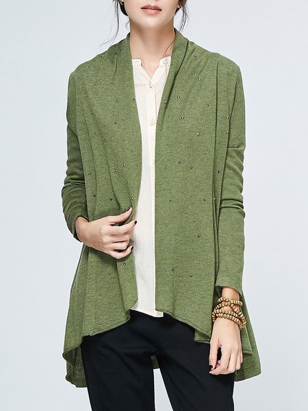 Army Green Knitted High Low Casual Cardigan