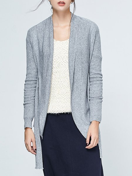 Gray H-line Casual Knitted Cardigan