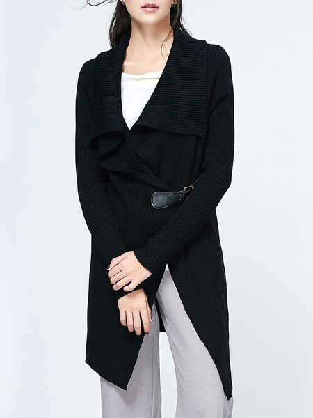 Black Asymmetrical Solid Knitted Long Sleeve Cardigan