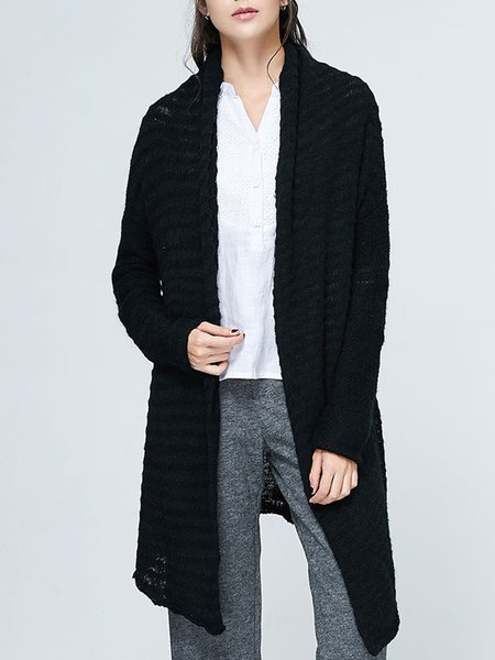 Black Pierced Solid Knitted Long Sleeve Cardigan