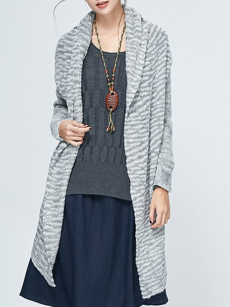 Pierced Knitted Casual H-line Cardigan