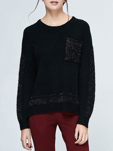 Black Solid Casual Knitted Crew Neck Pockets Long Sleeved Top