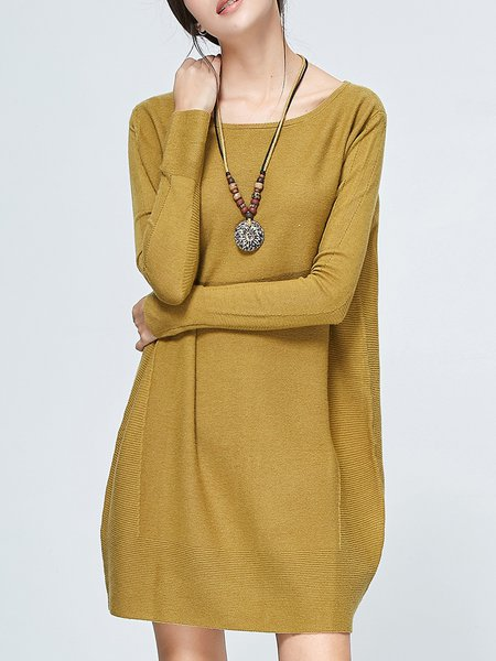 Yellow Knitted Crew Neck Casual Tunic