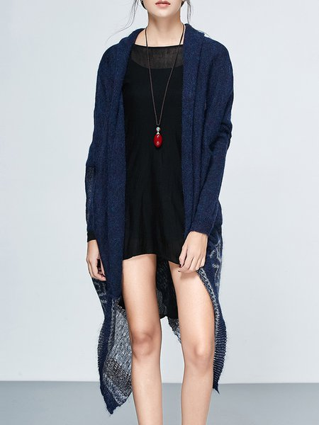 Navy Blue Asymmetrical Batwing Printed Knitted Cardigan