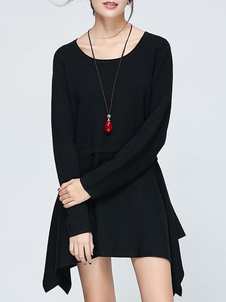Black Solid Asymmetrical Knitted Long Sleeve Tunic