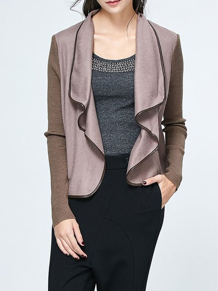 Khaki Knitted Folds Long Sleeve Casual Cardigan