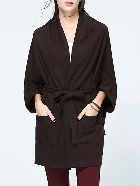 Long Sleeve Pockets Solid Wool Blend Coat