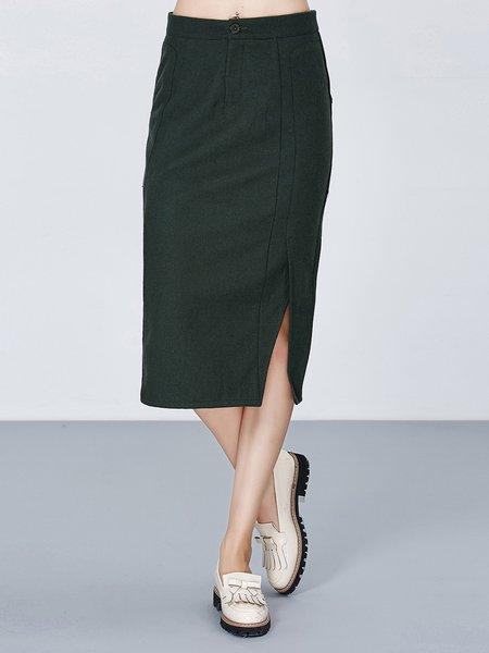 Slit Wool Blend Casual Plain H-line Midi Skirt