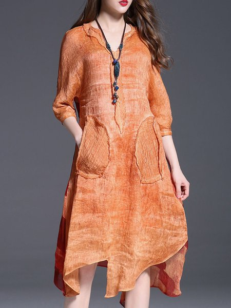 Orange A-line Silk Vintage Midi Dress