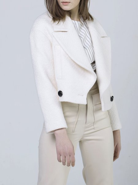 White H-line Simple Buttoned Wool Blend Cropped Jacket