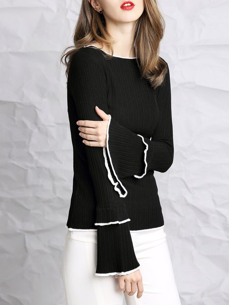 Casual Knitted Crew Neck Bell Sleeve Long Sleeved Top
