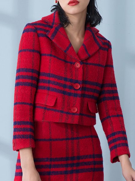 Red Wool Checkered/Plaid Simple Lapel Cropped Jacket