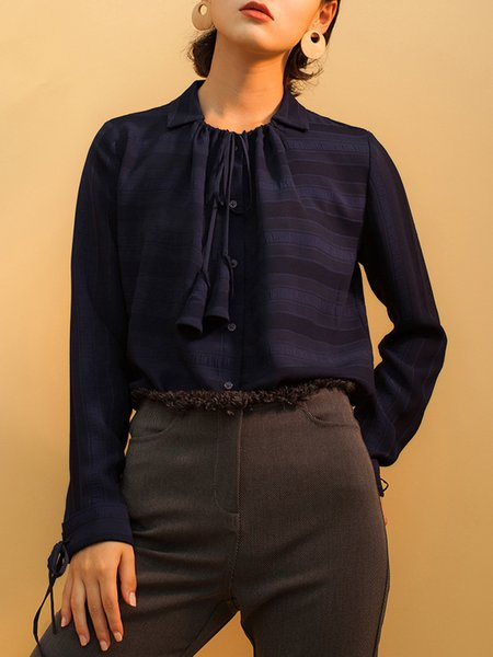Dark Blue Plain H-line Long Sleeve V Neck Blouse