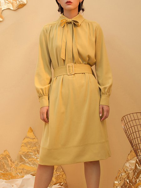 Yellow Long Sleeve Shirt Collar Plain Midi Dress with Belt