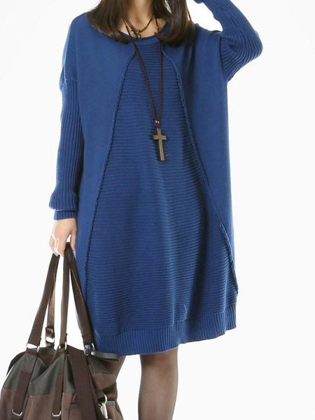 Solid Casual Long Sleeve H-line Linen Dress