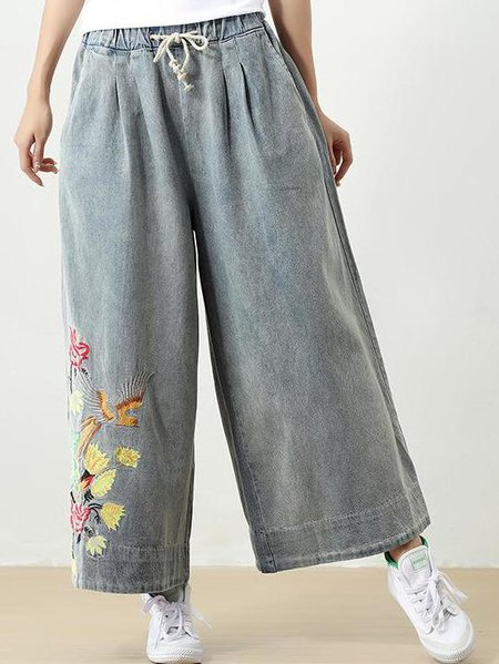 Light Blue Cotton Casual Embroidered Linen Bottom