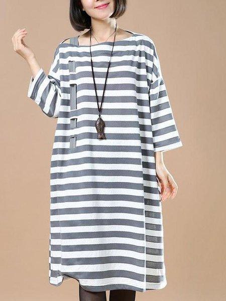 Casual Bateau/boat Neck 3/4 Sleeve Shift Linen Dress