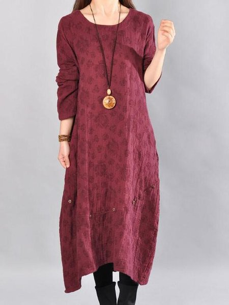 Burgundy Cotton Long Sleeve Crew Neck Linen Dress