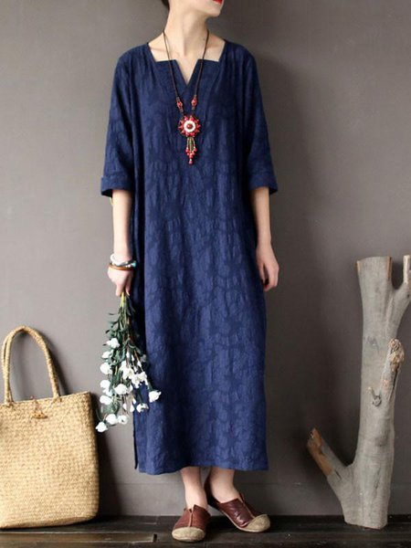 Navy Blue Casual Shift Linen V Neck Linen Dress
